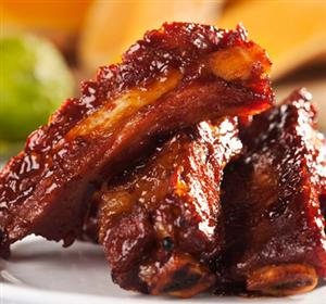 Spareribs glazed with Kriek beer