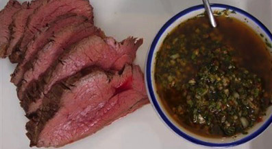 Tri-tip beer Marinade with Herb Sauce